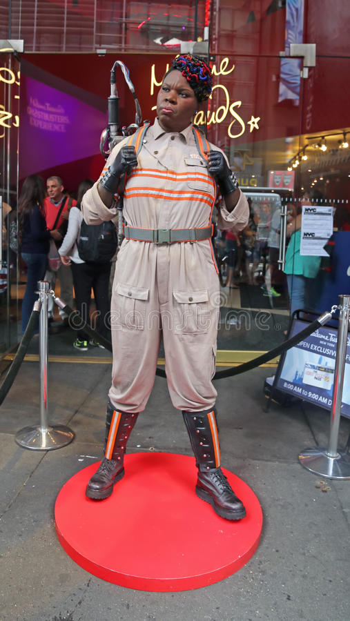 Ghostbusters star Leslie Jones In Wax. A new exhibit, Ghostbusters Dimension experience,opened at Madam Tussauds at Times Square in New York . Actress Leslie stock photo