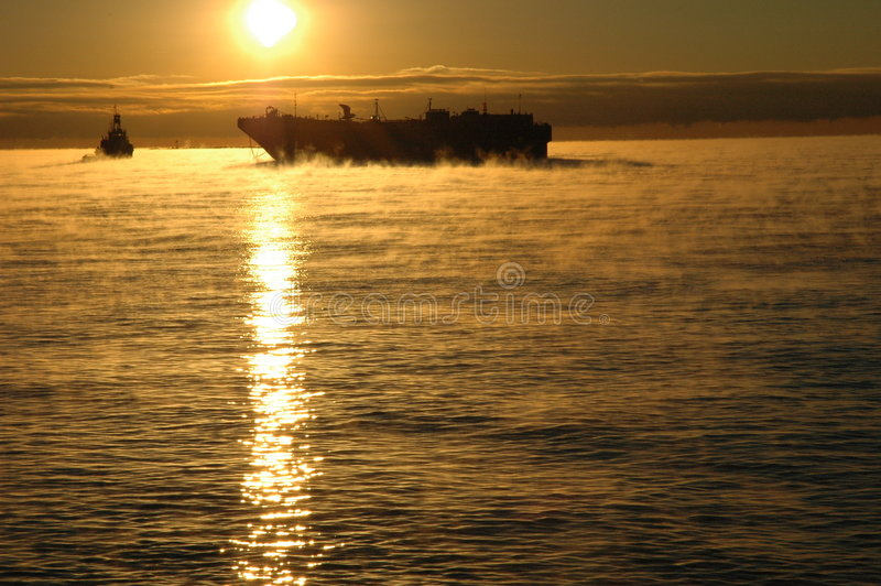Ghostly Barge on Cold Waters stock photos