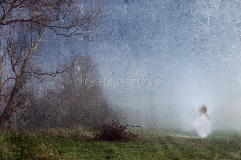 A ghostly woman in a white dress. On the edge of a dark spooky forest. With an old artistic vintage edit.  stock photos