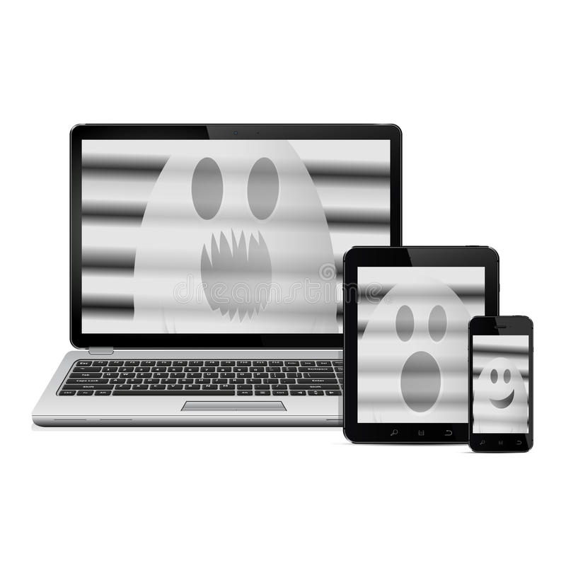 Ghosts on digital devices screens vector illustration