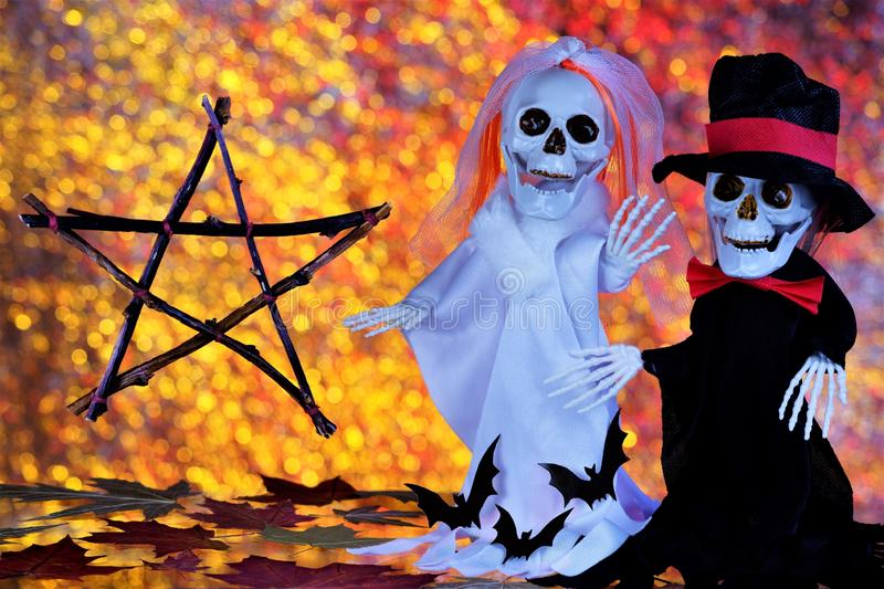 Ghosts skeletons, pentagram-happy Halloween holiday evil spirits. Halloween autumn main holiday of evil spirits, the custom is to. Frighten and appease evil royalty free stock photo
