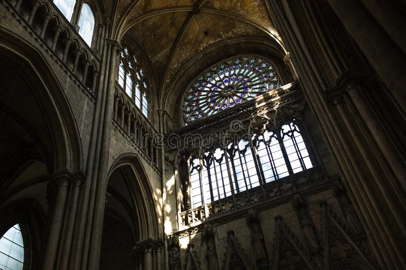 Rouen Saint Cathedrale interior view with sunlights. Ghotic church interior view with sunlights stock photos