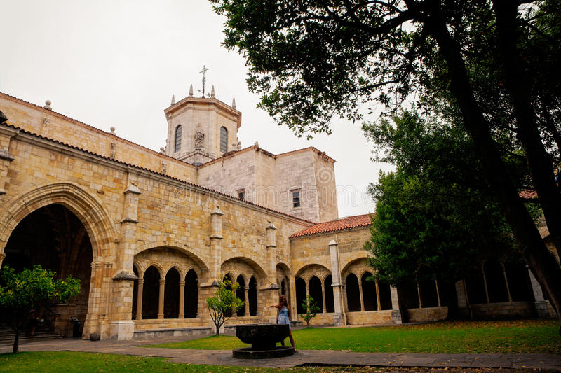 Ghotic Cloister of the Santander cathedral stock images