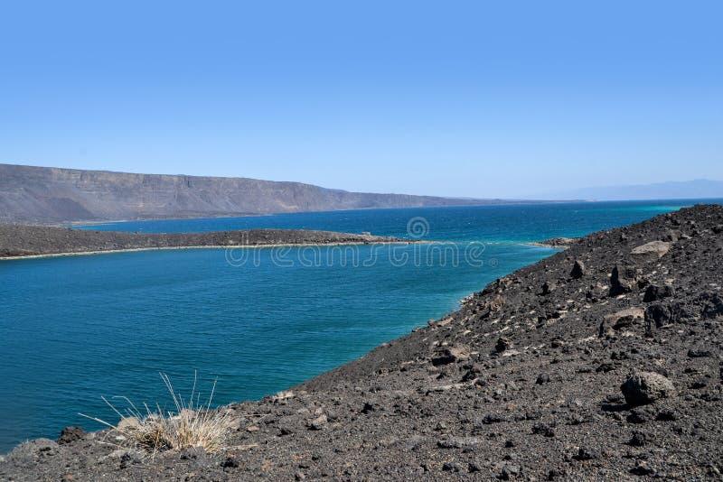 Ghoubet-Strand, Teufel-Insel-Ghoubbet-EL-Kharab Dschibuti Ostafrika lizenzfreies stockbild