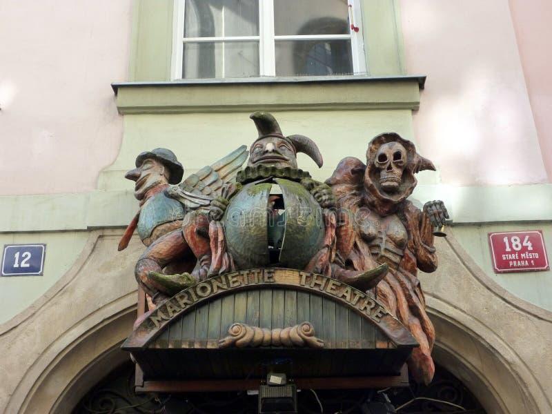 Ghoulish знак театра, театр марионетки, Прага, чехия стоковое фото rf