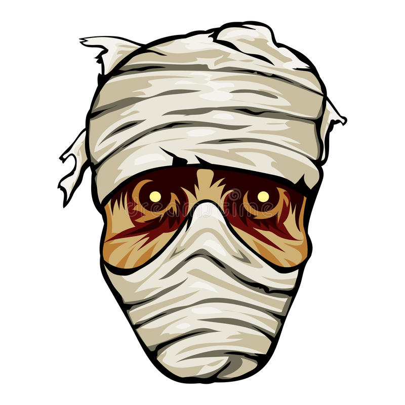 Ghoulish face of a mummy wrapped in bandages. With staring eyes for horror and Halloween vector illustration on white royalty free illustration