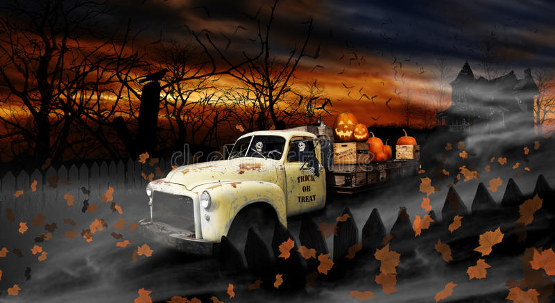 Ghouls хеллоуина управляя старой тележкой поставки стоковые изображения rf