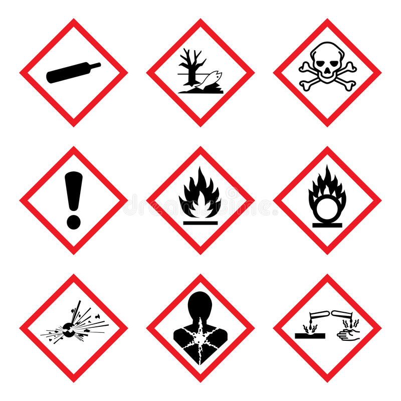 Free GHS 9 New Hazard Pictogram. Hazard Warning Sign WHMIS , Isolated Vector Illustration Stock Photography - 82202422