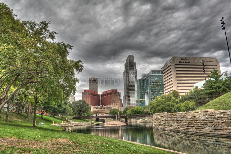 Giù città Omaha Nebraska immagini stock libere da diritti
