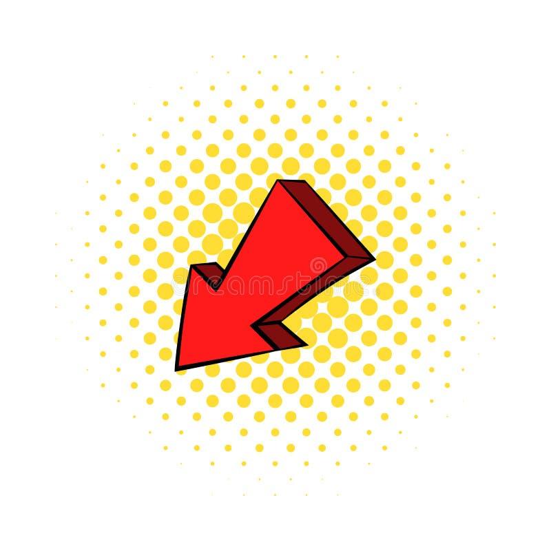 Giù icona sinistra rossa della freccia, stile dei fumetti royalty illustrazione gratis
