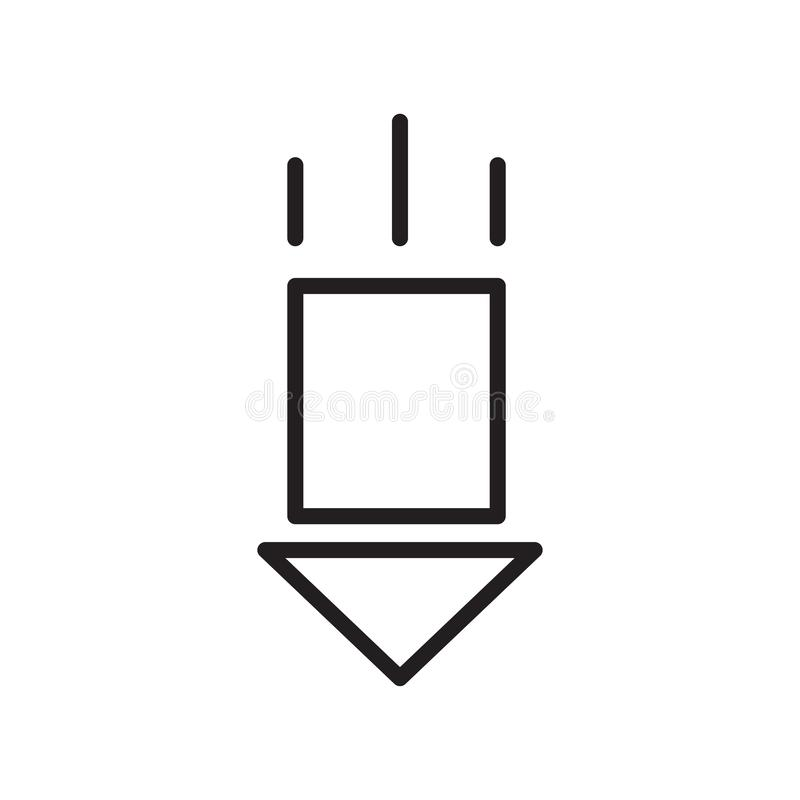Giù il segno ed il simbolo di vettore dell'icona della freccia isolati su fondo bianco, giù il concetto di logo della freccia illustrazione vettoriale