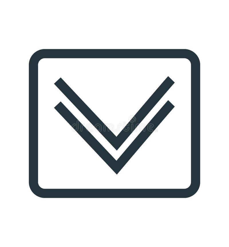 Giù il segno ed il simbolo di vettore dell'icona della freccia isolati su fondo bianco, giù il concetto di logo della freccia royalty illustrazione gratis