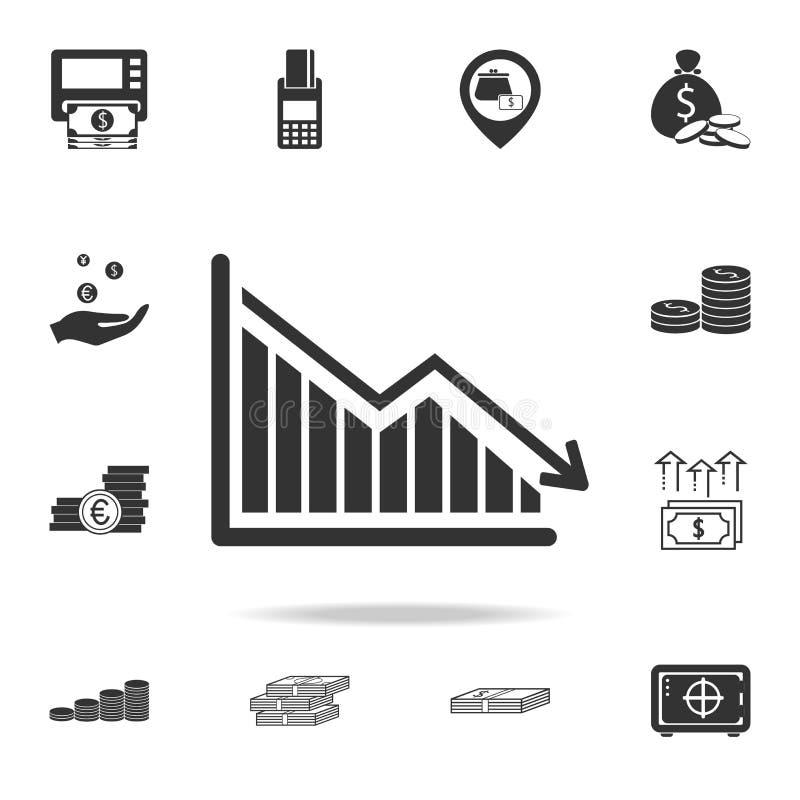 Giù programma, l'icona del grafico di caduta di declino Insieme dettagliato delle icone dell'elemento di finanza, di attività ban illustrazione vettoriale