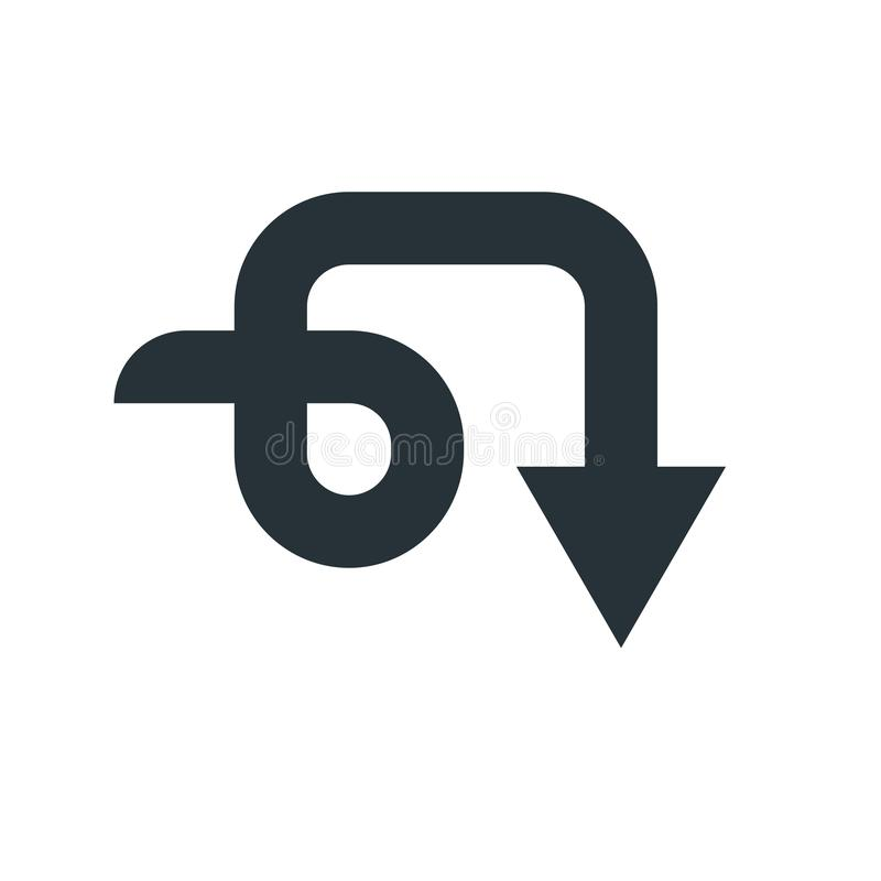 Giù segno e simbolo di vettore dell'icona della freccia isolati sul backgro bianco illustrazione vettoriale