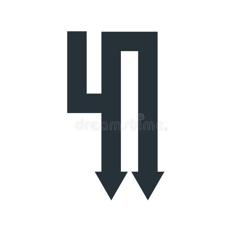 Giù segno e simbolo di vettore dell'icona della freccia isolati sul backgro bianco royalty illustrazione gratis