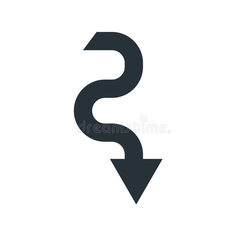 Giù segno e simbolo di vettore dell'icona della freccia isolati sul backgro bianco illustrazione di stock