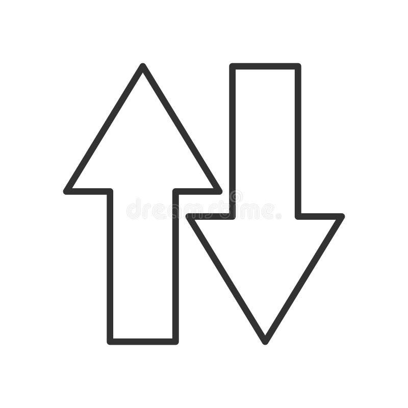 Giù sull'icona piana del profilo delle frecce su bianco royalty illustrazione gratis
