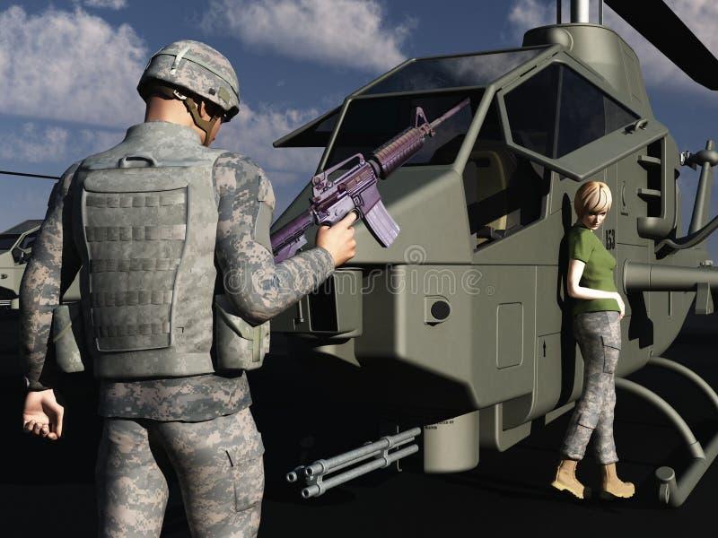GI, der mit weiblichem Hubschraubermechaniker flirtet vektor abbildung