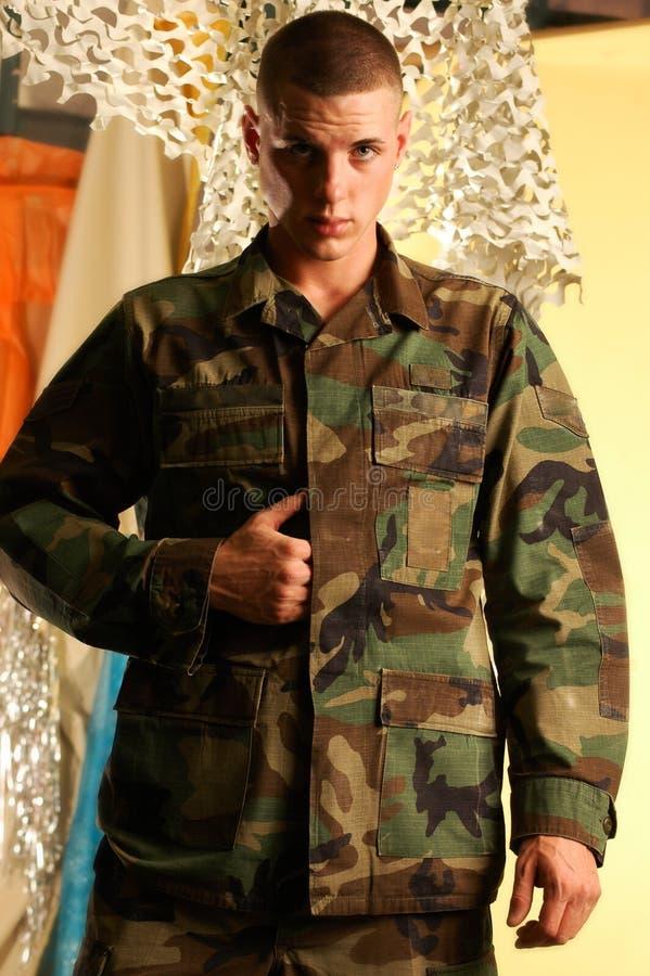 Gi Joe. Young male model in military garb stock photo
