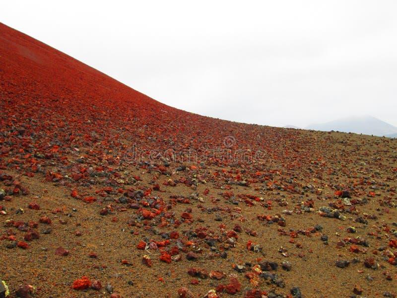 Giacimenti di lava di Lanzarote di rosso fotografie stock