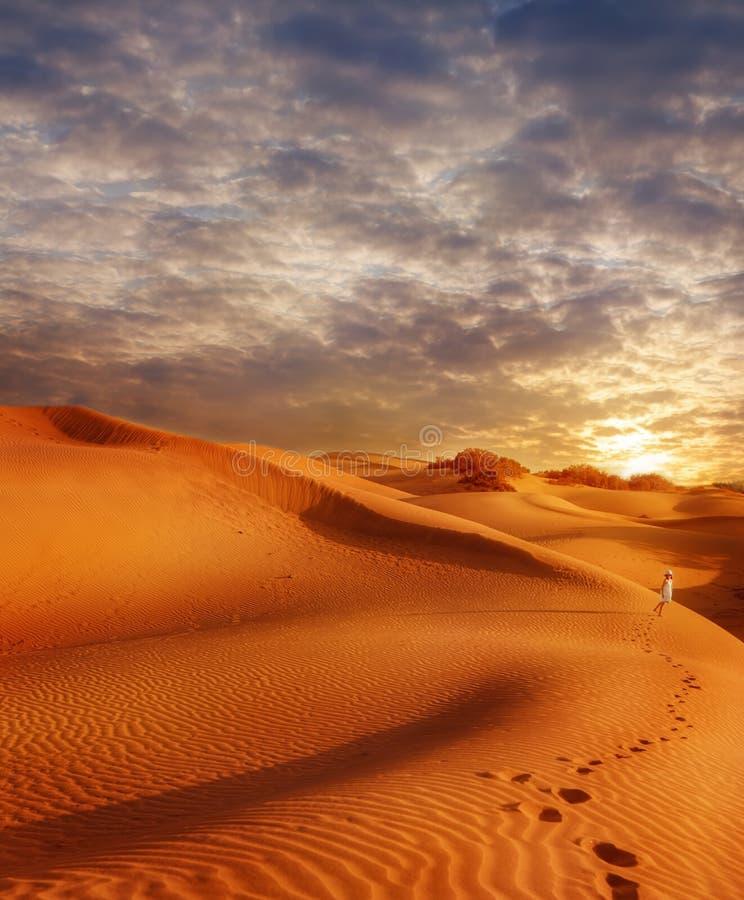 Giacimento delle dune di sabbia al tramonto fotografia stock libera da diritti