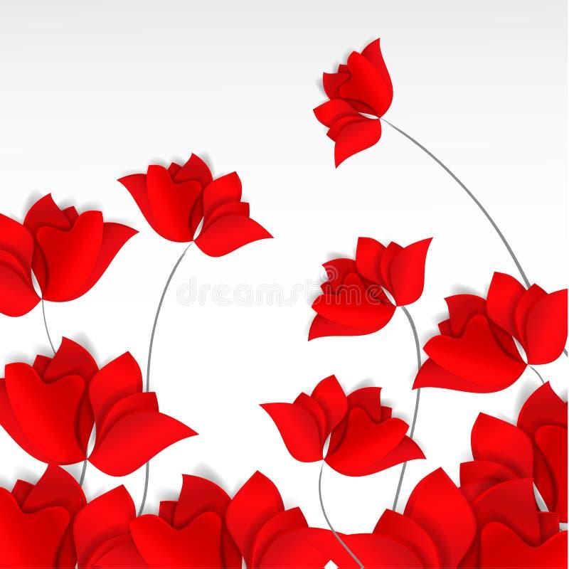 Giacimento di fiori rosso di stile carta tagliato luminoso su fondo bianco 3D vettore, carta, felice, molla, estate, amore, flora royalty illustrazione gratis