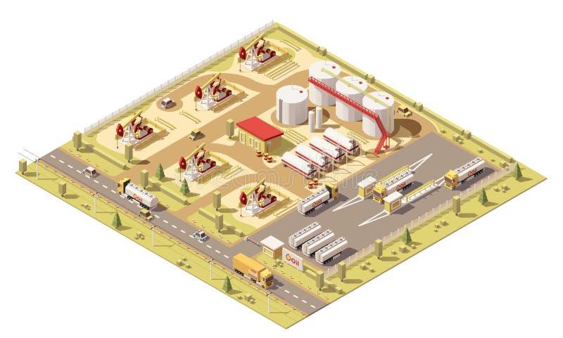 Giacimento di petrolio basso isometrico di vettore poli illustrazione di stock