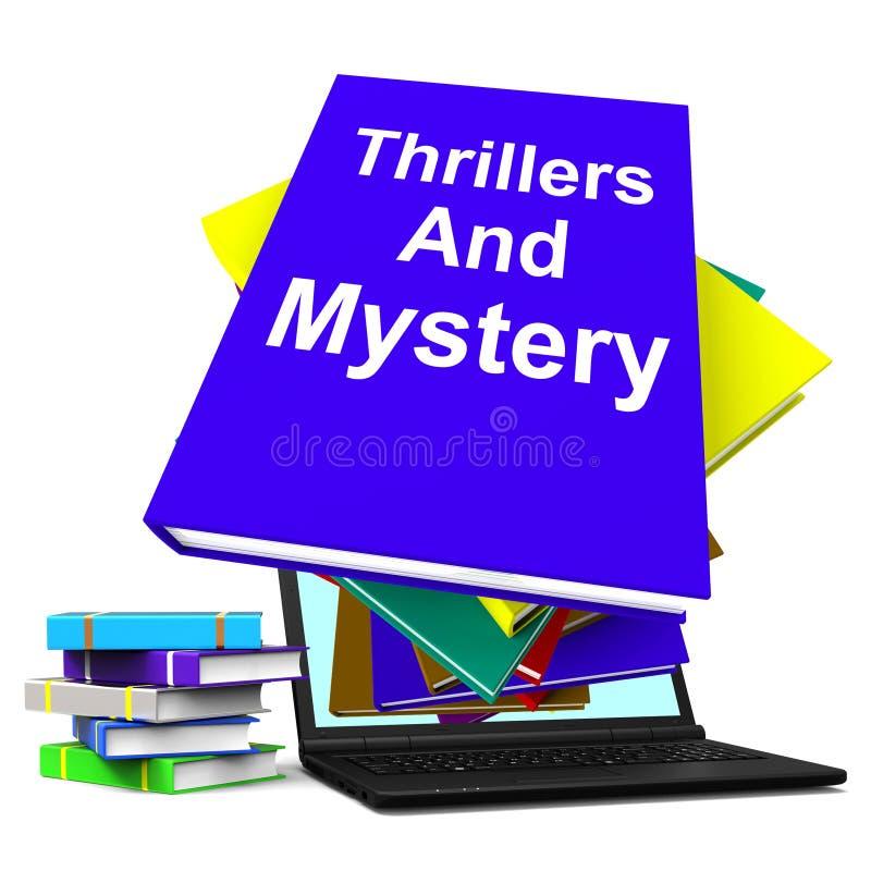 Gialli e libri di romanzo del genere di manifestazioni del computer portatile del libro di mistero royalty illustrazione gratis