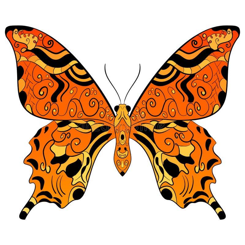 Giallo arancio della farfalla di monarca e colore del nero royalty illustrazione gratis