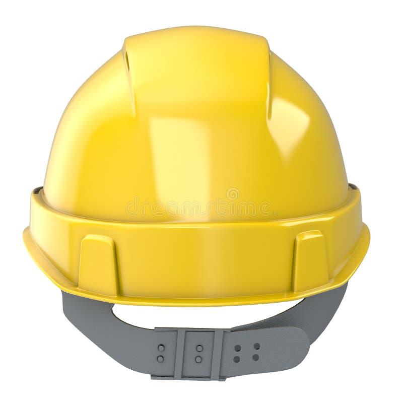 Giallo del casco della costruzione su un fondo bianco isolato illustrazione 3D illustrazione di stock