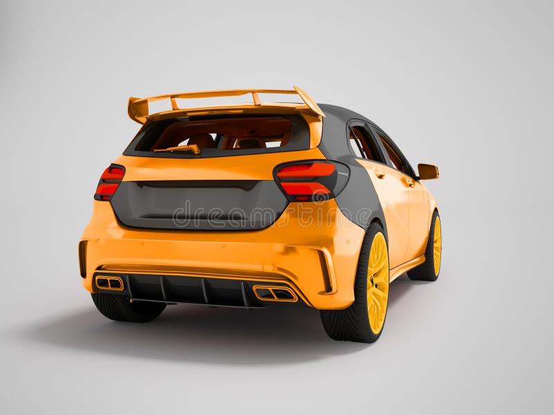 Giallo dell'automobile sportiva dietro la rappresentazione del fondo 3D su un fondo grigio con un'ombra immagine stock libera da diritti