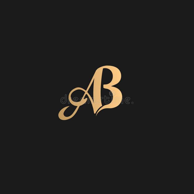 Giallo dorato di logo di ab su fondo nero fotografie stock libere da diritti