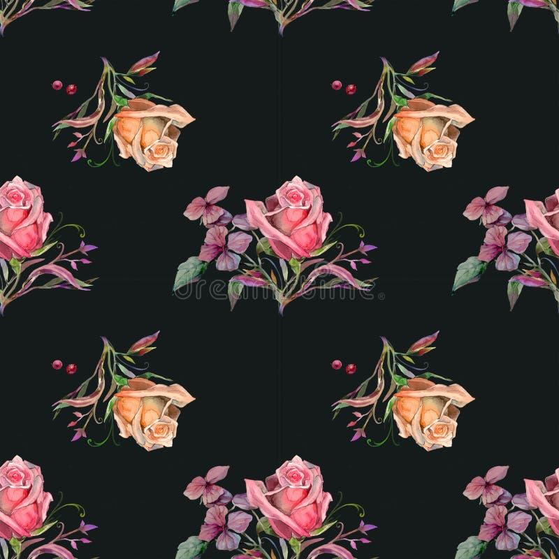 Giallo e rose rosse su fondo nero illustrazione vettoriale