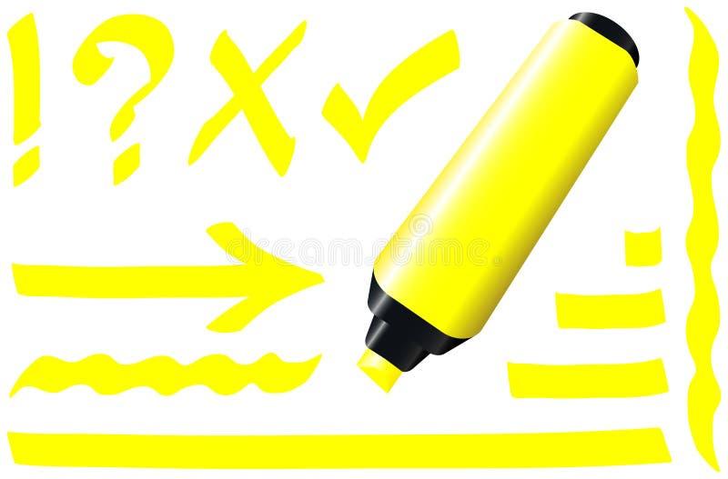 Giallo fluorescente dell'indicatore illustrazione di stock