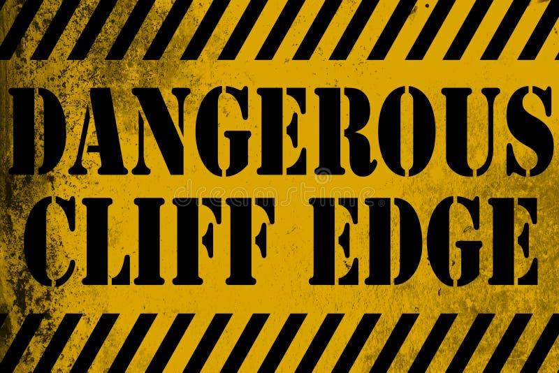 Giallo pericoloso del segno del bordo della scogliera con le bande royalty illustrazione gratis