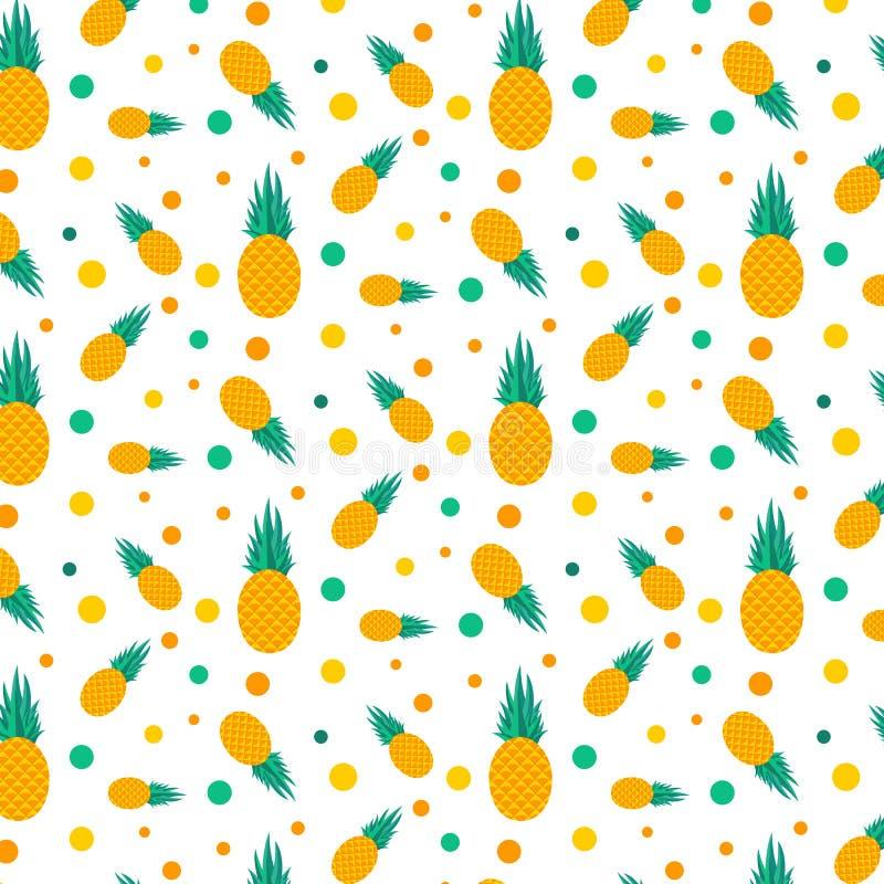 Giallo tropicale della frutta dell'ananas del modello di estate illustrazione di stock