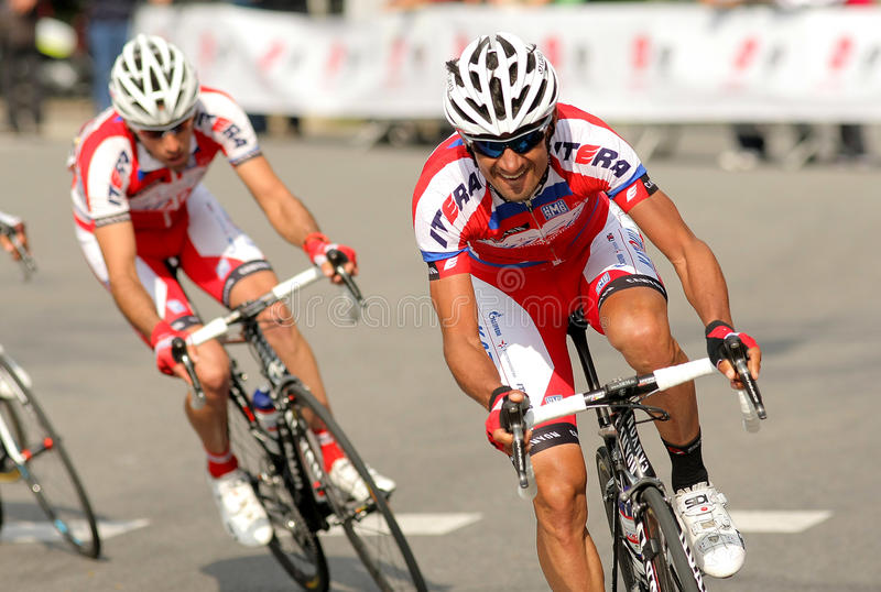 Giampaolo Caruso of Katusha Team. During the Tour of Catalonia cycling race through the streets of Monjuich mountain in Barcelona on March 24, 2013 stock photography