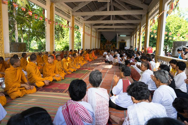 An Giang, Vietnam - Dec 6, 2016: Champa Buddhists and yong monks in temple at ordination ceremony that change the Vietnamese young. Men to be adult in Chau Doc stock image
