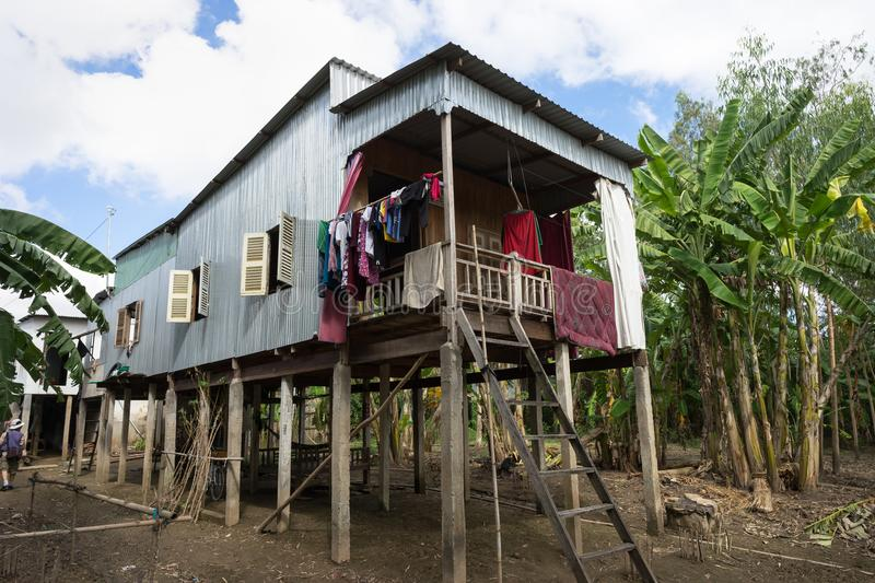 An Giang, Vietnam - Dec 6, 2016: Exterior view of Cham champa, campa rural people houses in Mekong delta, Vietnam.  stock photos