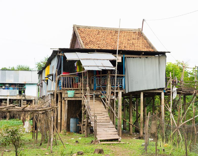 An Giang, Vietnam - Nov 29, 2014: Exterior view of Cham champa, campa rural people house in Mekong delta, Vietnam.  royalty free stock photography