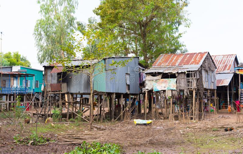 An Giang, Vietnam - Nov 29, 2014: Exterior view of Cham champa, campa rural people houses in Mekong delta, Vietnam.  royalty free stock image