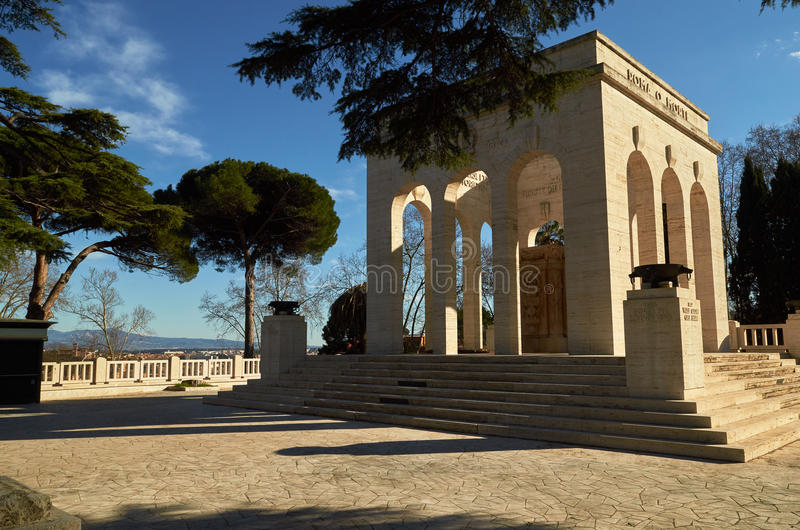 Gianicolo hill, Italy. Dedicated to the fallen for Rome. Mausoleo Ossario Garibaldino on the Janiculum Hill in Rome royalty free stock photography