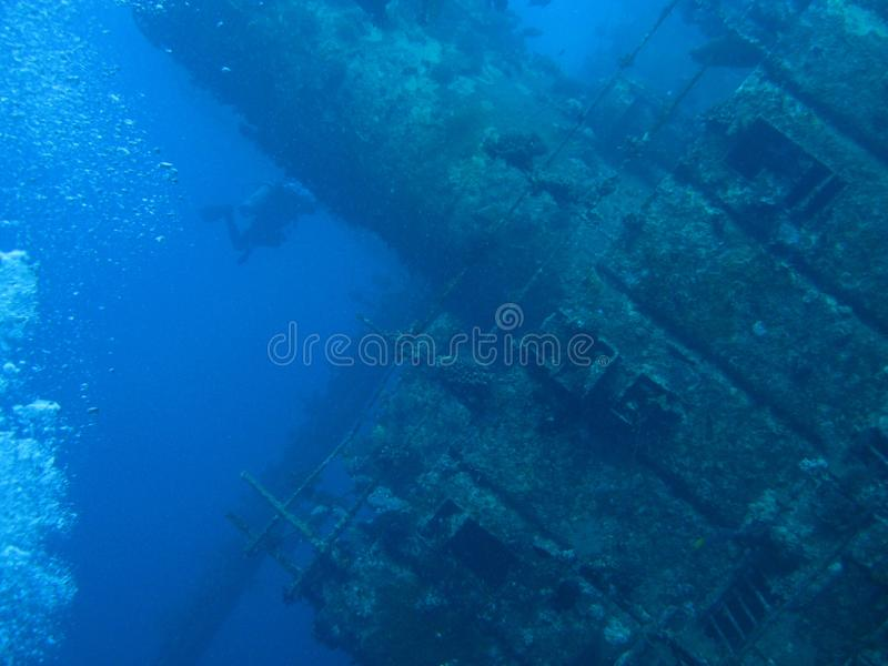 Giannis D Wreck: Funnel and command bridge stock images