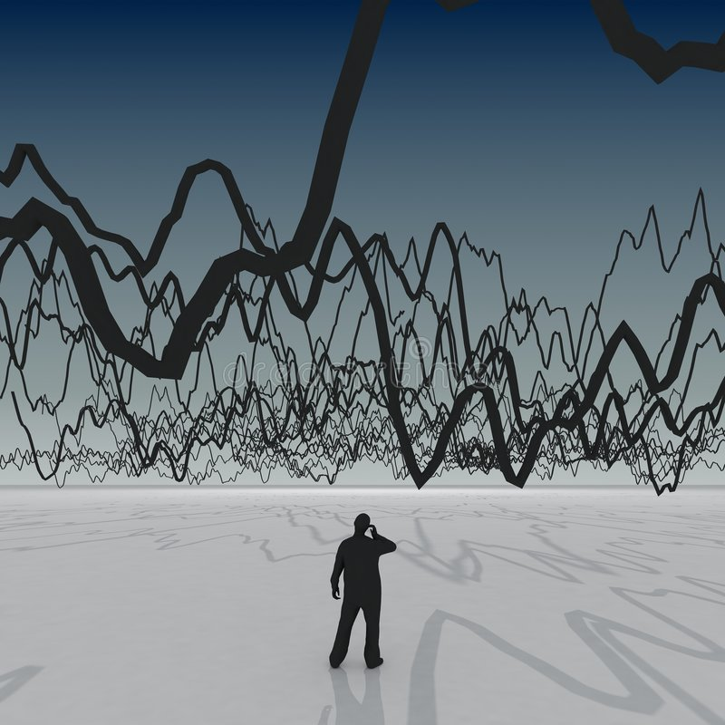 Giant 3d chart with small some people stock illustration