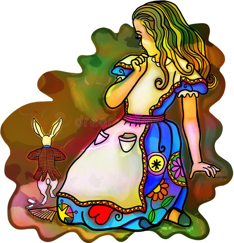 Giant Alice Scares Rabbit vector illustration