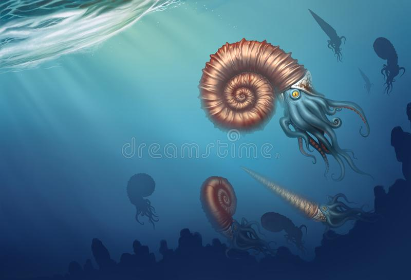 Giant ammonite and cameroceras on a white background. Giant ancient mollusks of the Cretaceous period. Realistic illustration of royalty free illustration