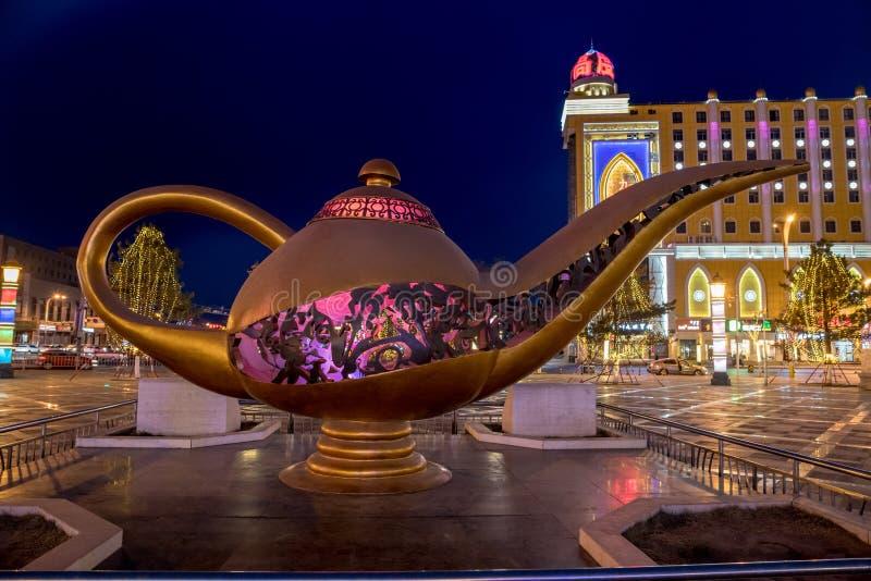 Giant arabic genie bottle Hohhot Night China decoration. A giant sculpture like Arabic tea-pot in Hohhot Hu He Hua Te China, decorative ornament in the Arabic stock images