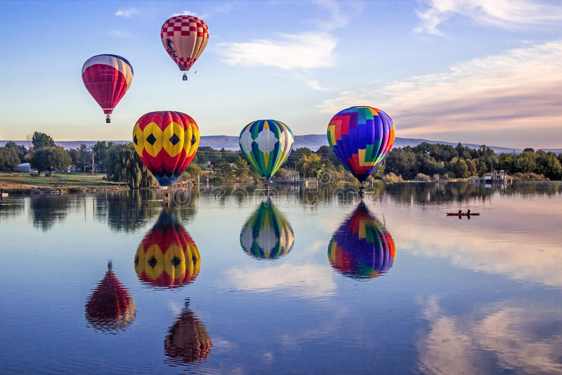 Giant Balloons over Yakima river stock photos