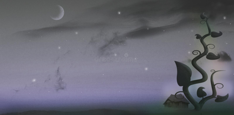 Giant beanstalk at night royalty free illustration