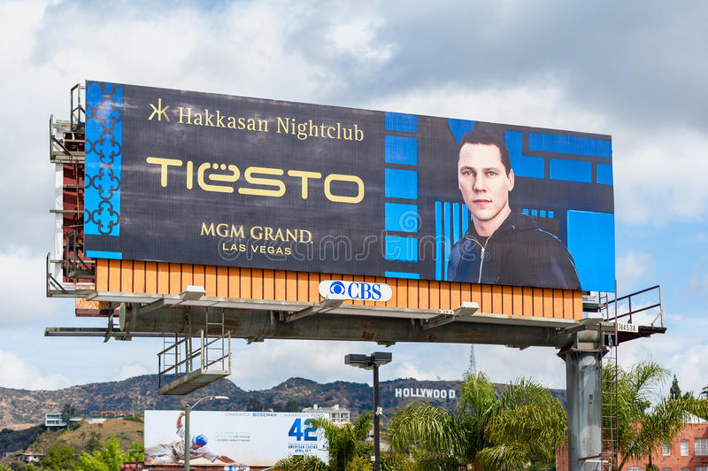 Giant billboard promoting DJ Tiësto in Los Angeles, USA stock photo